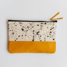 Splatter Print Clutch in Taxi Cab Yellow Anna Joyce by annajoyce Diy Clutch, Clutch Bag, Coin Purse Wallet, Pouch, Ink Splatter, Great Valentines Day Gifts, Hand Painted Canvas, Leather Cover, Lany