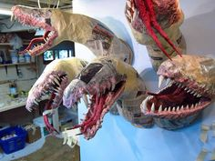 Paper mache Tiamat -more jaws added