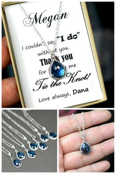 Bridesmaid jewelry sapphire blue  silver Drop by ThePeachMambo