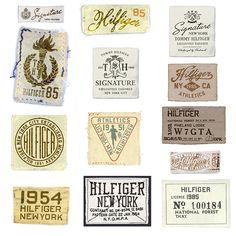 Hilfiger Sportswear by Glenn Wolk Woven Labels Typography Served, Typography Logo, Graphic Design Typography, Lettering, Logos, Badge Design, Label Design, Logo Design, Vintage Tags