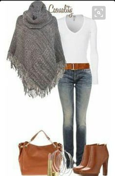 """""""Mk Boots & Large Tote, Sweater Poncho"""" by casuality.wonder if I could make this poncho Mode Outfits, Casual Outfits, Fashion Outfits, Womens Fashion, Fashion Boots, Fashion Clothes, Fashion Heels, Clothes For Women In 30's, Clothes Uk"""