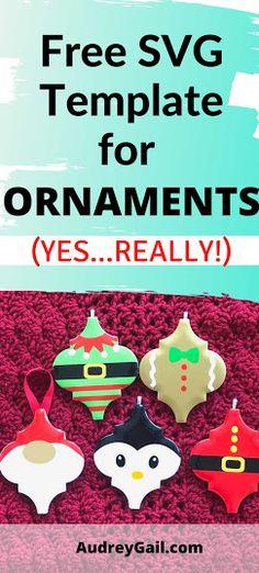 Christmas Ornament Template, Cricut Christmas Ideas, Grinch Ornaments, Christmas Ornaments To Make, Personalized Christmas Ornaments, Christmas Svg, How To Make Ornaments, Cricut Ornament, Diy Ornaments