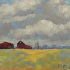 Barn Painting Impressionist Clouds Farm Small Painting -- Heidi Malott