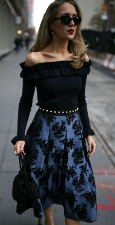 12 Perfect Holiday Skirts UNDER $150! // Black off-the-shoulder long-sleeve ruffle sweater, blue and black floral jacquard pleated midi skirt, black suede leather pearl embellished belt, black beaded bucket bag, black pointy toe patent leather pumps, black sunglasses, burgundy lip, earrings {White House Black Market, Saint Laurent, Laura Mercier, Marc Jacobs, Nordstroms, NYC fashion blogger, budget friendly, festive skirts, holiday skirts, party outfit, classic style, party outfit}