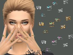 The Sims Resource: Multi stone rings by NataliS • Sims 4 Downloads