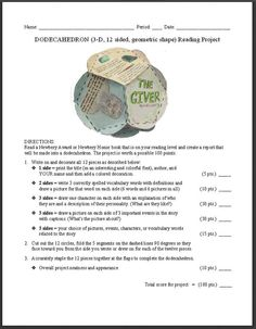 FREE Dodecahedron Book Report Idea~ Template, photo of an example, project guidelines, and grade sheet are all available here, for free. Check out this idea, and lots more at Book Projects!