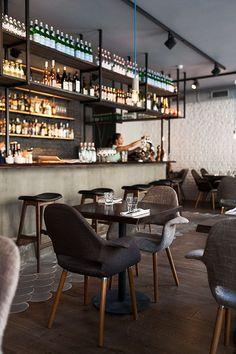 """Interior design for """"Brixton"""" restaurant in Saint-Petersburg, Russia Decoration Restaurant, Deco Restaurant, Luxury Restaurant, Restaurant Interior Design, Modern Interior Design, Restaurant Tables, Bistro Interior, Small Restaurant Design, Restaurant Ideas"""