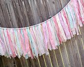 Shabby Torn Fabric Rag Garland Banner Bunting, Wedding Party Decor, Photo Prop in Vintage Inspired - Soft PInks, Aquas, and Creams - 6 Feet