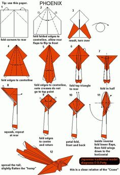 Origami Instruction: Phoenix | web wanderers Origami Design, Instruções Origami, Origami And Kirigami, Origami Butterfly, Useful Origami, Paper Crafts Origami, Dollar Origami, Origami Bookmark, Oragami