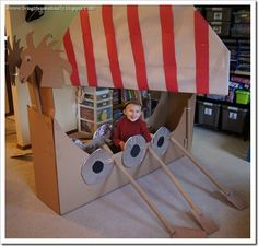 ? Look at this awesome cardboard Viking ship!! The link actually takes you to a blog post with various Viking activities for a homeschool unit study - LOVE this! :)