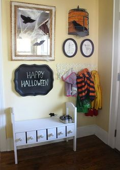 Love this for a mudroom, entry way. Its especially kid friendly with the chalkboard tray.