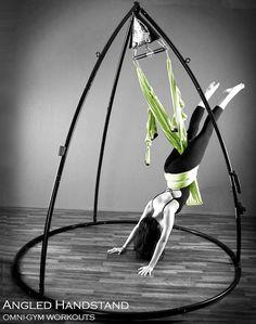 Bodyweight Suspension and Aerial Dance, Aerial Yoga. Omni Gym handstand. #yogaswing