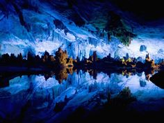 The breathtaking Reed Flute Cave, located 5 kilometers (3 miles) from the city of Guilin in Guangxi, China, is named for the reeds that grow outside the entrance which can be made into flutes.