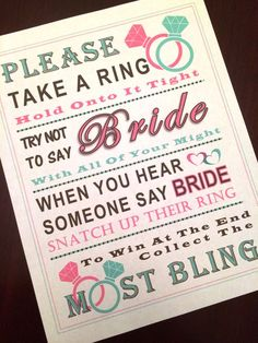 Bridal Shower Game: Don't Say Bride ***MINT & PINK RING*** by PinkFlamingoParties on Etsy www.etsy.com/...