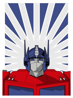 """Geek xombiedirge: Optimus & Megatron byMatt Ferguson/Tumblr/Website/Twitter 18"""" X 24"""" Optimus Prime screen print with metallic ink layer, numbered edition of 50. Part of theBleeding Metallicsart show, opening August 2nd 2013, at theHero Complex Gallery/Facebook. The previously released, companion screen print, Megatron, is also still available HERE."""