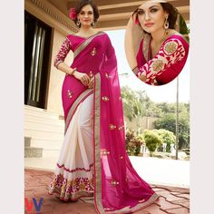 Buy Classy White And Pink Colored Georgette #DesignerSaree From WomansVilla.com