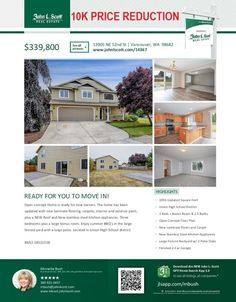 Real Estate Now for Sale at $339,800! Come and view this updated three bedroom, two full and one half bath, 2096 square foot two story move-in-ready open concept home on a .14 acre fenced lot located at 13905 NE 52nd Street, Vancouver, Washington 98682 in Clark County area 22 which is the Evergreen area in Vancouver. The RMLS number is 18521538. It doesn't have a fireplace nor is it considered to be a view home. It was built in 2004 and has an attached two car garage. The local high school…