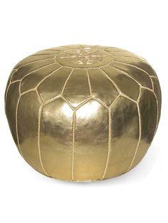 Affordable Moroccan poufs // Kenza Morrocan Pouf, Metallic Gold via @luluandgeorgia