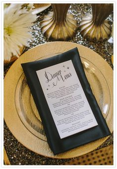 Black, white and gold wedding menu