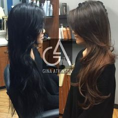 Pro to the rescue: black box color disaster - hair color - modern salon Balayage Hair, Ombre Hair, Bayalage, Long Curly Hair, Curly Hair Styles, Color Correction Hair, Colored Hair Tips, Hair Color And Cut, Hair Colour