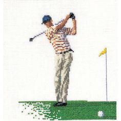 Thea Gouverneur counted-cross-stitch Kit Golf On Linen