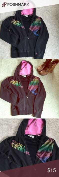 💗O'NEILL Black with Colorful Stripes Hoodie✨ Black O'NEILL Hoodie has Many Colorful Stripes and a Pink Lined Hood💗 This Hoodie is as Adorable as it is Comfy! Size is Large but runs Small so would fit a Small or Medium most Comfortably 💕💕 O'Neill Tops Sweatshirts & Hoodies