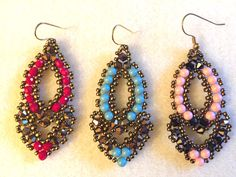 "Video Tutorial   Beaded Earrings ""Esmeralda"""