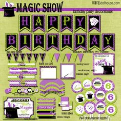 MAGIC PARTY PRINTABLE COLLECTION (PURPLE) http://mimisdollhouse.com/product/magic-party-printable-collection-purple/