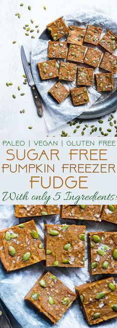 Sugar Free Vegan Pumpkin Freezer Fudge - This paleo, healthy pumpkin fudge requires only a few minutes to make and is naturally sweetened with dates! It's gluten, grain and dairy free and SO creamy! | Foodfaithfitness.com | @FoodFaithFit | Easy vegan fudge. healthy vegan fudge. healthy fudge. vegan fudge with dates. sugar free fudge. vegan pumpkin fudge. paleo pumpkin fudge. gluten free pumpkin fudge. no bake pumpkin fudge. quick pumpkin fudge.