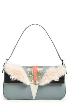 Fendi 'Monster' Leather & Genuine Mink Fur Baguette | Nordstrom