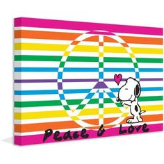 Marmont Hill Peace and Love Peanuts Print on Canvas, Size: 45 inch x 30 inch, Multicolor