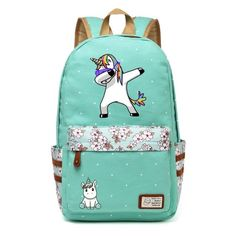 Colorful Unicorn Canvas Backpack