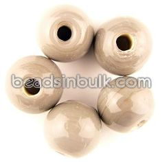 BIS-300-84 12mm Round Grey Half inch Big Hole Glass Beads 4mm hole (1lb - approx 204 beads) $15.64