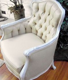 How to paint fabric on furniture instead of reupholstering!