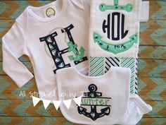 Monogram Anchor Nautical Applique Baby Boy Gift Set, Personalized Gift Set for Baby Boy with Gown, Bib, and Burp Cloth, Anchor Gift Set by AllStitchedUpbyJill on Etsy https://www.etsy.com/listing/220211244/monogram-anchor-nautical-applique-baby