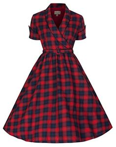 Shop Lindy Bop 'Courtney' Perfectly Plaid Chic Inspired Red & Blue Swing Dress (Size Free delivery and returns on eligible orders. Retro Wedding Dresses, Vintage Dresses 50s, 50s Dresses, Retro Dress, Cute Dresses, Vintage Outfits, Fashion Dresses, 50s Vintage, Retro Weddings