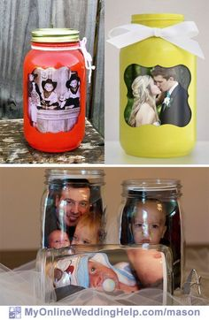 Mason jar centerpieces with pictures. Its easy to put a photo inside the jar. [ Mason jar centerpieces with pictures. Its easy to put a photo inside the jar. Or jars painted as picture frames are cu. Picture Centerpieces, Unique Wedding Centerpieces, Mason Jar Centerpieces, Centerpiece Ideas, Mason Jar Projects, Mason Jar Crafts, Mason Jar Diy, Wedding Ideas With Mason Jars, Diy Home Decor Projects