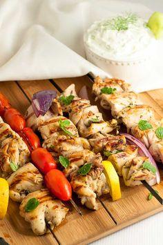Easy Greek Lemon Kabobs with Tzatziki Sauce . Fresh herbs, lemon, garlic and red wine vinegar make a fabulous marinade for juicy, succulent chicken skewers. via @enessman