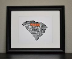 SOUTH CAROLINA CLEMSON Tigers Cities Collage Print by bandaprints, $12.50