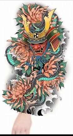 Japanese Snake Tattoo, Japanese Flower Tattoo, Japanese Dragon Tattoos, Japanese Tattoo Designs, Japan Tattoo Design, Tattoo Design Drawings, Geometric Sleeve Tattoo, Tattoo Sleeve Designs, Scary Tattoos