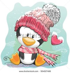 Cute Cartoon Penguin in a knitted cap sits on a snow