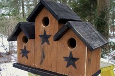 Mustard and Black Triplex Birdhouse Black Stars