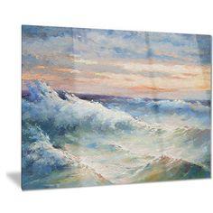 Designart 'Waves During Storm' Seascape Painting Metal Wall Art | Overstock.com Shopping - The Best Deals on Metal Art