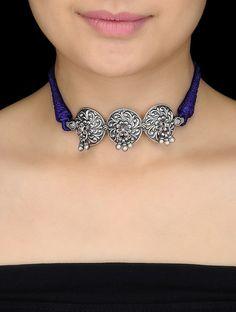 Buy Purple Thread Silver Armlet cum Necklace with Floral Motif Online at Jaypore.com