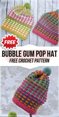 crochet Bubble Gum Pop Hat free pattern - easy crochet hat pattern for beginners Easy Crochet Hat Patterns, Free Crochet, Knitted Hats, Crochet Hats, Braided Scarf, How To Make Scarf, Hat And Scarf Sets, Summer Knitting, Bubble Gum