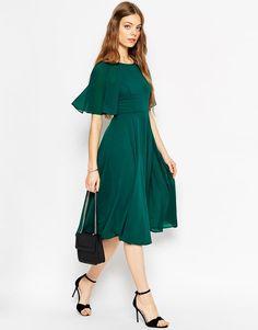 ASOS   ASOS Lace Up Back Caftan Sleeve Midi Dress at ASOS