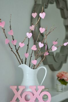 Heart Tree - DIY Home Decoration Ideas for Valentine's Day. Easy to make Home Decor Crafts for Valentine's Day. Homemade Valentines ideas for mantle decorating, party tables, yard art, heart garland, valentine trees, kids rooms and more! LivingLocurto.com