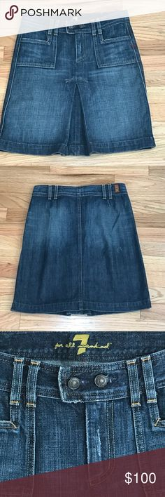 💕 7 For All Mankind Size 27 Denim Skirt 7 For All Mankind Size 27 Denim Skirt, distressed, beautiful, comfortable, excellent condition 7 For All Mankind Skirts