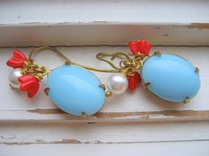 Earrings ~ Copenhagen Vintage Scandinavian Blue Cab, Pearl and Tomato Red Glass Flower                     $28