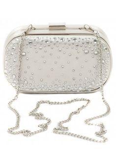 Crystal Champagne Satin Box Clutch Bag
